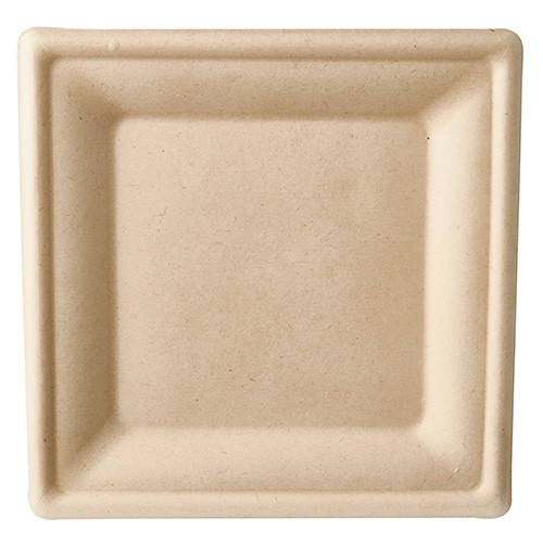 Teller aus Zuckerrohr natur 20 cm x 20 cm