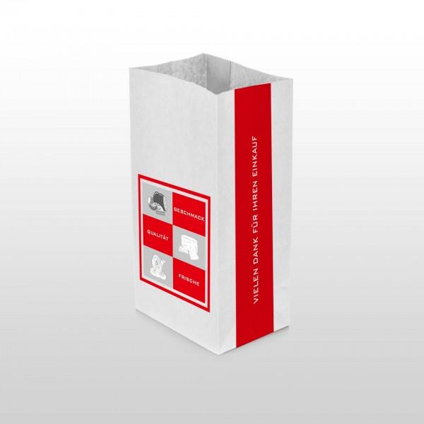 Metzgerfaltenbeutel weiß mit Neutralmotiv