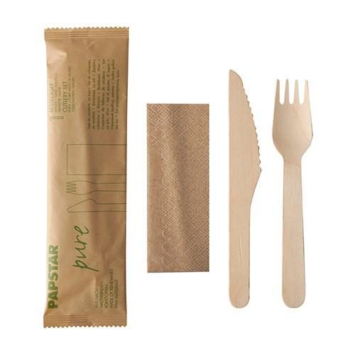 Besteckset aus Holz: Messer, Gabel & Serviette in Papierbeutel