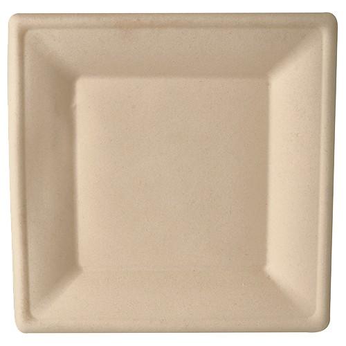 Teller aus Zuckerrohr 26 cm x 26 cm natur