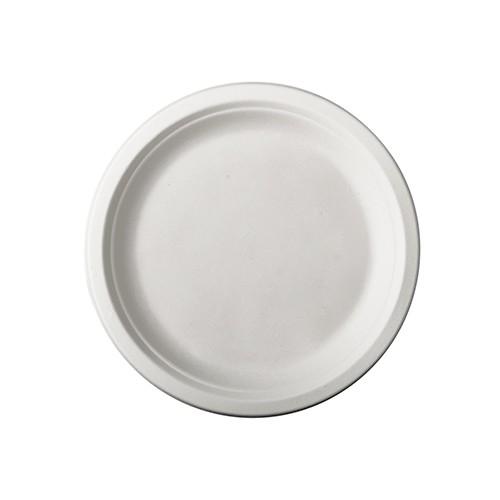 Teller, Einwegteller, Bio Teller, Weißer Teller, Zuckerrohr Teller, Einweggeschirr, Runder Teller, Bio