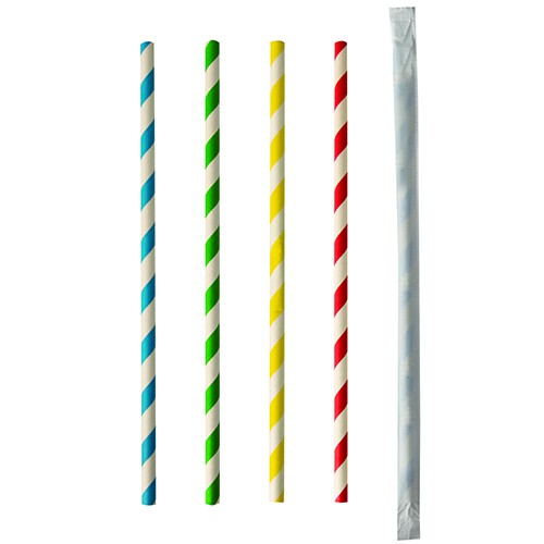 "Trinkhalme aus Papier, farbig sortiert ""Stripes"""