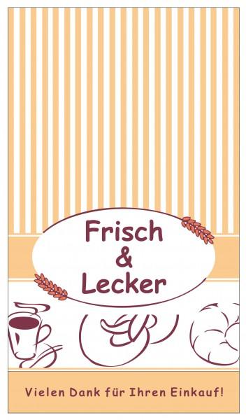 """Bäckerfaltenbeutel weiß """"Frisch & Lecker"""""""