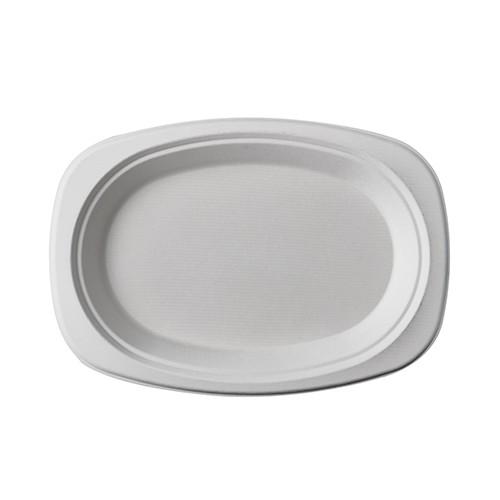 Teller, Einwegteller, Bio Teller, Weißer Teller, Zuckerrohr Teller, Einweggeschirr, Ovaler Teller, Bio